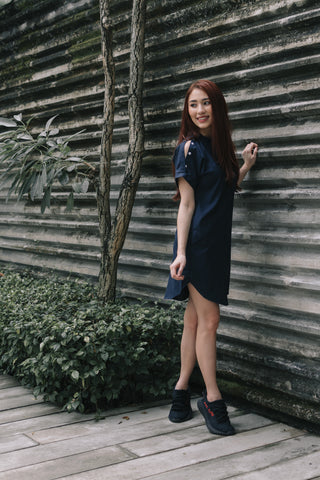 Astrid Drop Shoulder Short Sleeve Dress in Navy Blue