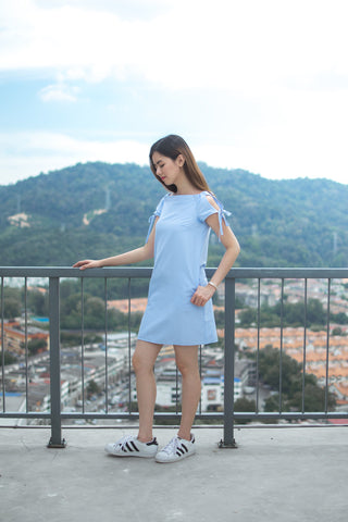 Twenty3 - Coleen Off Shoulder Shift Dress in Light Blue -  - Dresses - 1