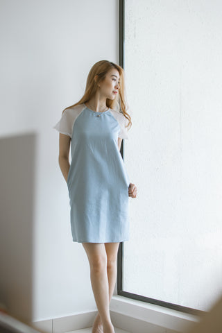 Twenty3 - Adley Organza Sleeves Shift Dress in Denim -  - Dresses - 1
