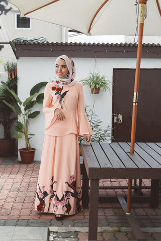 Heliza Flute Sleeves Top with Placement Floral Print in Apricot