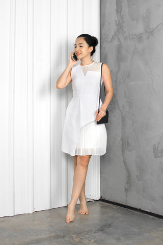 Twenty3 - Evdoxus Organza Panel Skater Dress in White -  - Dresses - 1