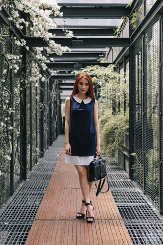 Kennedy Panel Shift Dress in Navy Blue