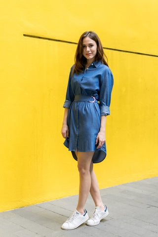Sasha Belted Shirt Dress in Denim - Dresses - Twenty3