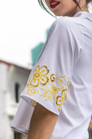 Heyya Top with Embroidery in White