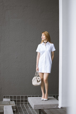 Twenty3 - Natalia Short Sleeves Shirt Dress in White -  - Dresses - 1