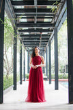 Twenty3 - Jezebel Lace Panel Tulle Bridal Gown in Burgundy -  - Maxi Dress - 2