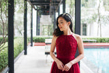 Twenty3 - Jezebel Lace Panel Tulle Bridal Gown in Burgundy -  - Maxi Dress - 9