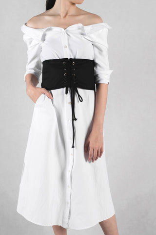 Corset Belt with Lace-up Detail in Black