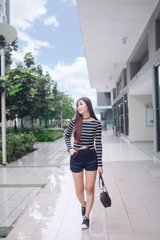 Twenty3 - Amelia Rib Knit Crop Top in Stripes -  - Tops - 1