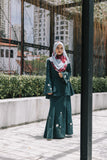 Dynas Maxi Skirt with Floral Embroidery in Emerald Green