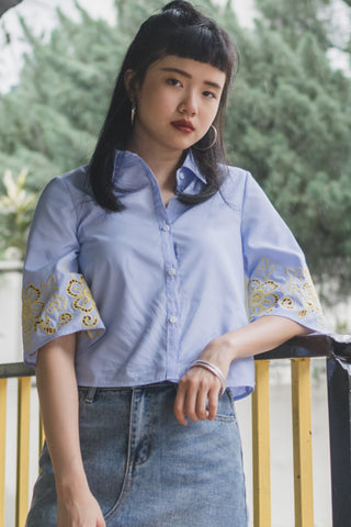 Heyya Top with Embroidery in Pinstripes