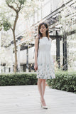 Jenela Skater Dress with Placement Floral Print in White