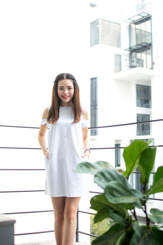 Leanne Cold Shoulder Dress in White - Dresses - Twenty3