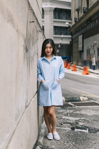 Elicia Oversize Shirt Dress in Light Blue