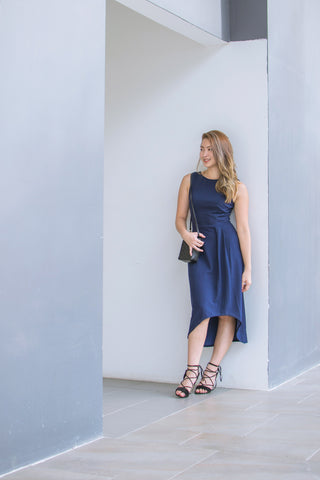 Twenty3 - Haelyn Asymmetrical Hemline Midi Dress in Navy Blue -  - Dresses - 1