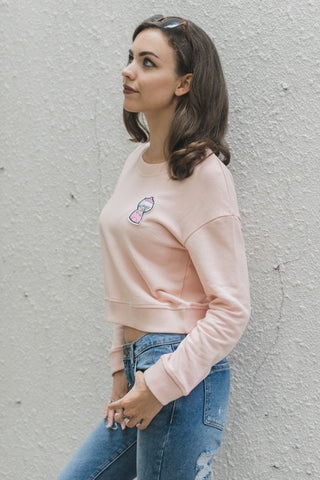 Bubblegum Jumper with Patch in Dusty Pink Tops - Twenty3 AU