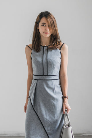 Laverne Contrast Piping Sheath Dress in Grey