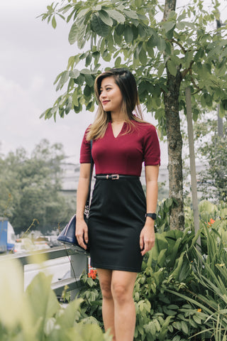 Pansy Colour Block Sheath Dress in Burgundy and Black