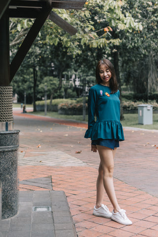Suri Bell Sleeve Top in Teal
