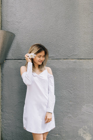 Joan Cold Shoulder Shirt Dress in White