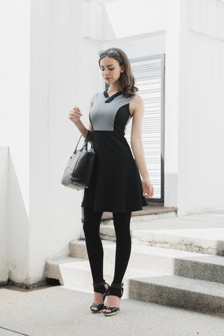 Eyana Colour Block Skater Dress in Grey and Black