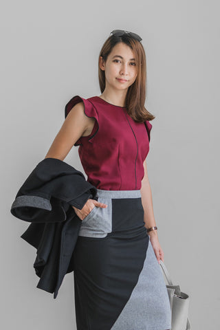 Leone Colour Block Pencil Skirt in Grey and Black - Bottoms - Twenty3