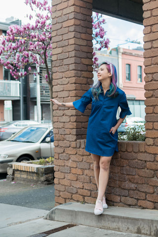 Daia Flute Sleeves Shift Dress in Denim