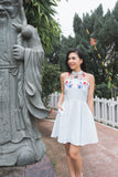Twenty3 - Marjorie Skater Dress with Floral Embroidery in Light Blue -  - Dresses - 2