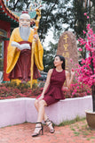 Twenty3 - Phyllis Cheongsam Peplum Bodycon Dress in Burgundy -  - Dresses - 8