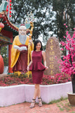 Twenty3 - Phyllis Cheongsam Peplum Bodycon Dress in Burgundy -  - Dresses - 2