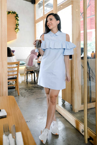 Twenty3 - Romilda Ruffle Cold Shoulder Shift Dress in Light Blue -  - Dresses - 1