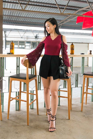 Twenty3 - Ayla Cold Shoulder Lace Sleeves Romper in Burgundy -  - Romper - 1