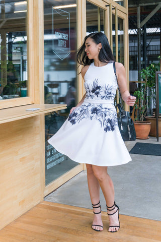 Twenty3 - Amethyst Skater Dress in Black and White Floral Prints -  - Dresses - 1