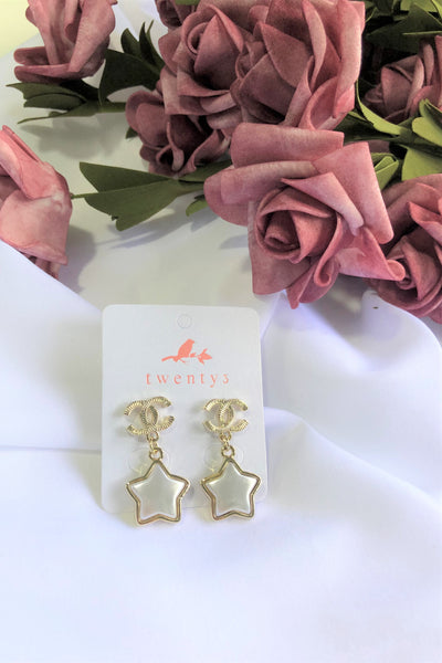 Double C Star Earrings