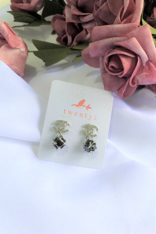 Double C Stone Earrings
