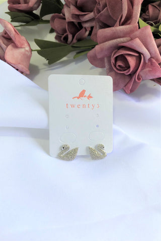 3-Way Swan Pearl Earrings
