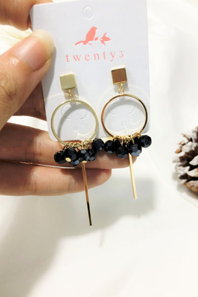 Gold Hoop Rhinestone Earrings