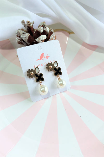 Rose Gold Flower Pearl Drop Earrings