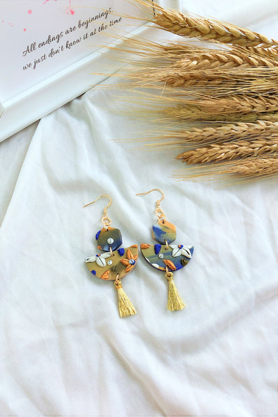 [HANDCRAFTED] Clay Tassel Earrings Green