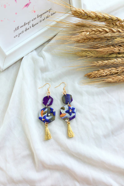 [HANDCRAFTED] Clay Tassel Earrings Navy Blue