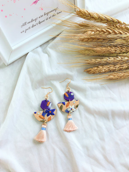 [HANDCRAFTED] Clay Tassel Earrings Pink Blue