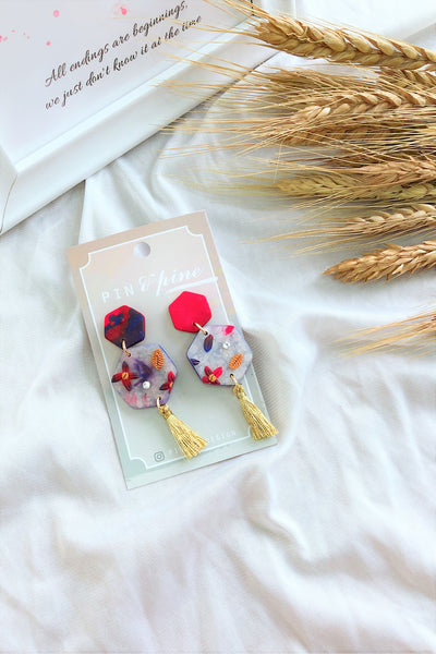 [HANDCRAFTED] Clay Tassel Earrings Red Lilac