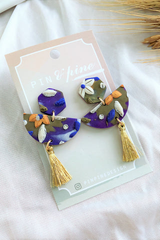 [HANDCRAFTED] Clay Tassel Earrings Blue Green