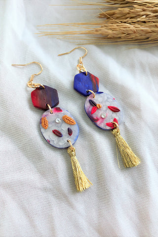 [HANDCRAFTED] Clay Tassel Earrings Blue Lilac