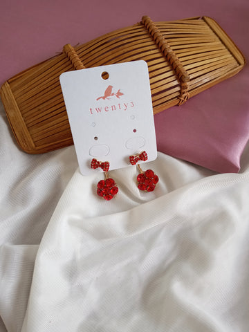 3-Way Red Ribbon Earrings