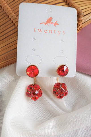 3-Way Red Round Earrings