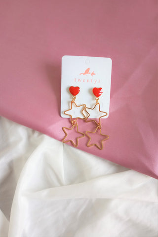 Red Heart Starry Earrings