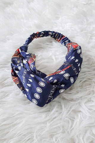 Knot Turban Elastic Headband Navy