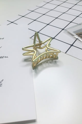 Plating Metal Star Hair Claw Clip