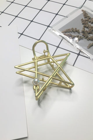 Plating Metal Pearl Star  Hair Claw Clip